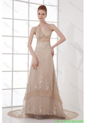 A Line Champagne Halter Top Neck Appliques Backless Court Train Mother of the Bride Dress