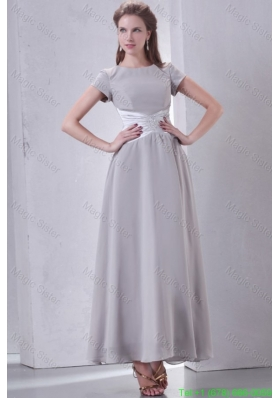 Ankle Length Grey Empire Scoop Mother of the Bride Dress with Short Sleeves