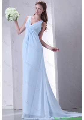 Cheap Empire V Neck Light Blue Mother of the Bride Dress with Ruching