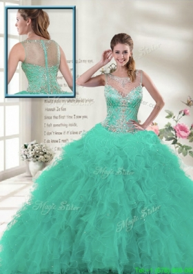 Discount 2016 Scoop Ruffles Sweet 16 Dresses in Turquoise