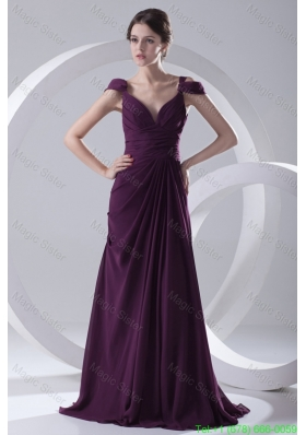 Empire Purple Ruching Straps Cap Sleeves Dresses for Mother of the Bride
