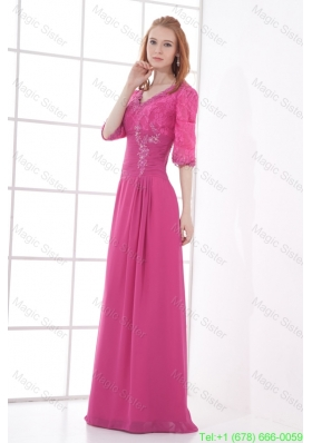 Empire V Neck Half sleevess Lace Pink Mother of the Bride Dress