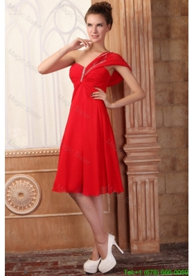 Low Price Empire One Shoulder Red Mother of the Bride Dress with Beading