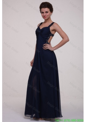 Navy Blue Empire Straps Mother of the Bride Dress with Beading and Ruching