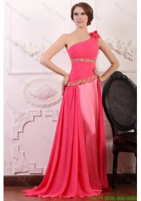 Pink Empire One Shoulder Flowers Beaded Mother of the Bride Dress with Brush Train