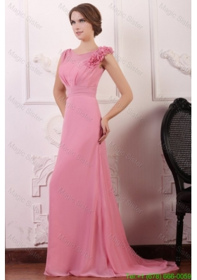 Rose Pink Empire V Neck Court Train Mother of the Bride Dress with Flowers