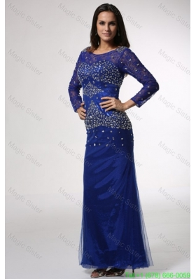 Royal Blue Column Scoop Beaded Mother of the Bride Dress with Long Sleeves