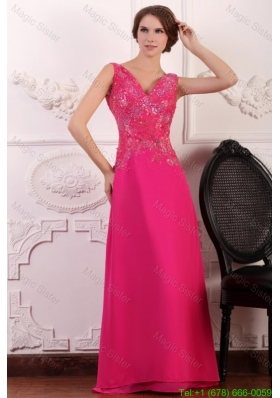 V Neck Empire Chiffon Appliques with Beading Mother of the Bride Dress in Hot Pink
