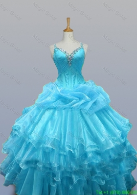2015 Pretty Straps Beaded Quinceanera Dresses with Ruffled Layers