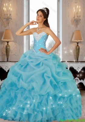 Beautiful 2015 Beaded Quinceanera Dresses in Baby Blue