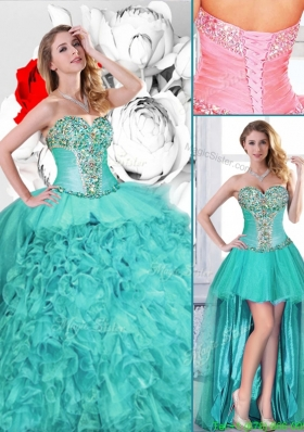 Gorgeous Turquoise Detachable Quinceanera Gowns with Beading