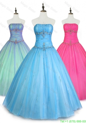 2016 Pretty Strapless Ball Gown Quinceanera Dresses with Beading