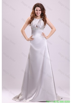 2016 Spring A-line Gray Straps Beading and Ruching Brush Train  Prom Dress