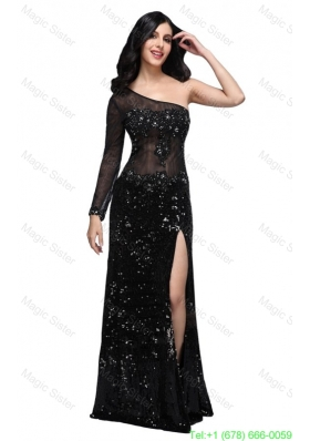 2016 Spring Column Black One Shoulder Long Sleeves Sequins High Slit Prom Dress