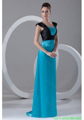 2016 Spring Column Straps Blue and Black Ruching and Appliques Elastic Woven Satin Prom Dress