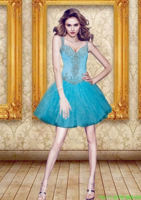 2016 Spring Excellent Beading and Ruffles Prom Dress in Aqua Blue