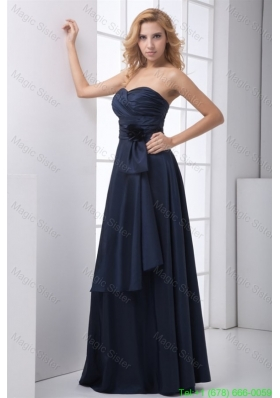 2016 Spring Simple Blue Column Sweetheart Floor-legnth Ruching Prom Dress