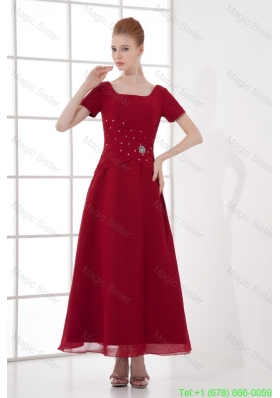 A-line Burgundy Ankle Length Chiffon Beading and Ruching Mother of the Bride Dress
