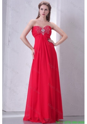 Beaded Decorate Brust Sweetheart Empire Chiffon Prom Dress in Red
