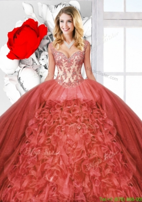 Beautiful Ruffles Rust Red Quinceanera Dresses with Straps