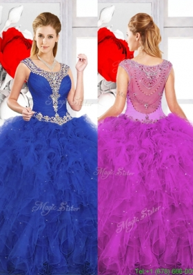 Beautiful Scoop Ruffles Quinceanera Dresses with Beading