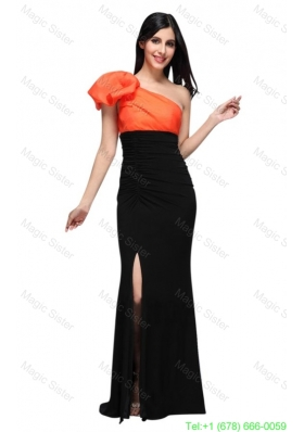 Black and Orange One Shoulder Column High Silt Mother of the Bride Dress with Train