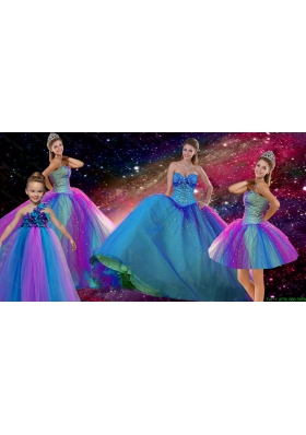 Decent Ball Gown Sweetheart Multi Color Detachable Quinceanera Dresses with Beading