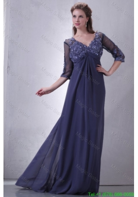 Empire V Neck Chiffon Appliques with Beading Mother of the Bride Dress