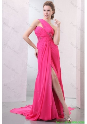 One Shoulder Hot Pink Chiffon Appliques Watteau Train Mother of the Bride Dress