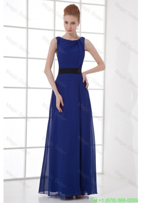 Peacock Blue Empire Bateau Floor Length Backless Mother of the Bride Dress