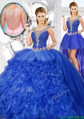 Perfect Ball Gown Beaded Detachable Quinceanera Dresses with Scoop