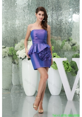 2016 Spring Mini-length Strapless Purple Prom Dress with Big Handmade Flower