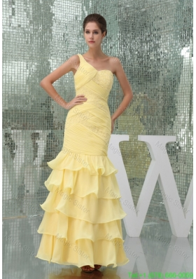2016 Spring One Shoulder Ruffle-layers Ankle-length Prom Dress in Yellow