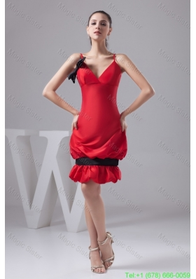 2016 Spring Pick-ups and Bowknot Accent Red Mini-length Prom Cocktail Dress