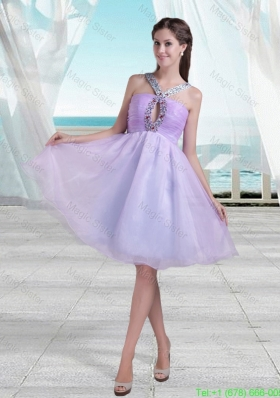 2016 Spring Pretty A Line V Neck Knee Length Beading Prom Dress in Lavender