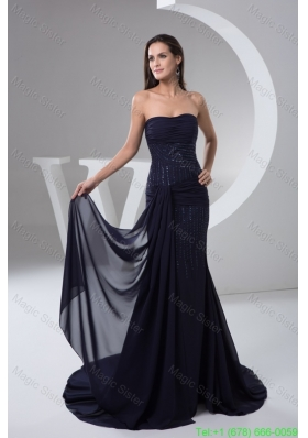2016 Spring Ruched and Beaded Chiffon Prom formal Dress in Navy Blue