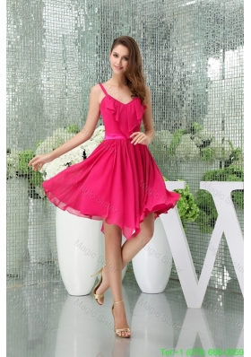 2016 Spring Spaghetti Straps Chiffon Hot Pink Prom Dress with Asymmetrical Hemline