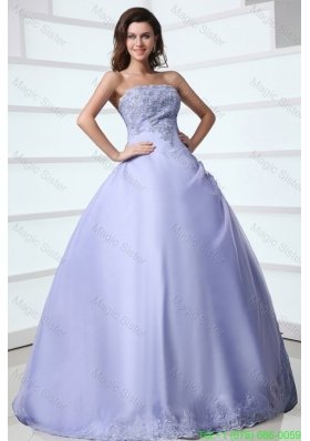 2016 Spring Strapless Appliques Decorate Sweet 16 Dress in Lavender