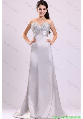 A-line Sweetheart Silver Beading and Ruching Wedding Dress