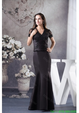 Appliqued Black Mother of the Bride Dress with Short Sleeves and Cutout