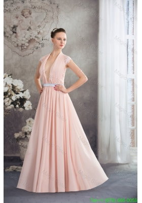 Baby Pink Empire V Neck Floor Length Mother of the Bride Dress with Silver Sash