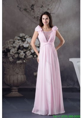 Beading and Ruching Accent Pink Mother of Bride Dress with Cap Sleeves