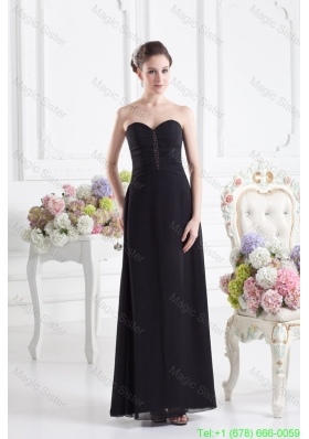 Black Empire Floor Length Mother of the Bride Dress with Beading and Ruching