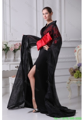 Bow Sash and Slit Decorated Long Sleeves Sweep Train Mother of the Bride Dresses