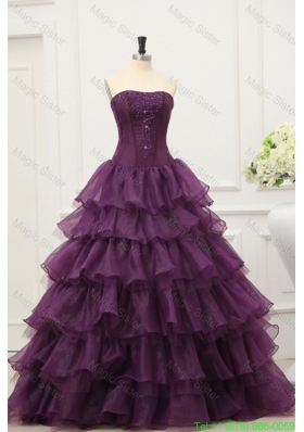 Dark Purple Strapless Beading and Ruffles Layered Quinceanera Dress