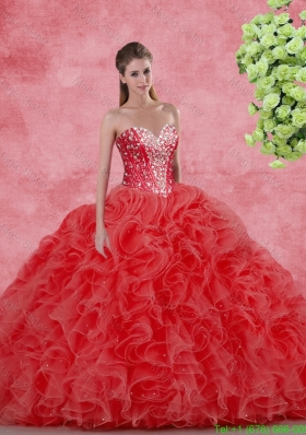 Discount Beaded Red Sweet 16 Gowns for 2016 Spring
