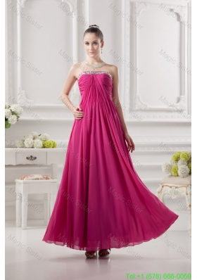 Empire Strapless Ankle Length Beading Chiffon Hot Pink Mother of the Bride Dress