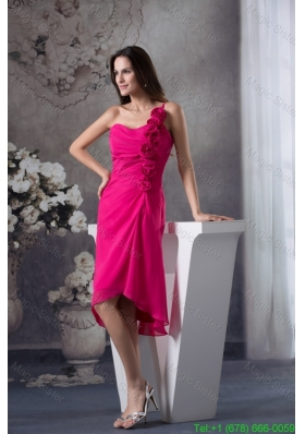 Fuchsia One Shoulder Knee-length Prom Dress with Handmade Flowers