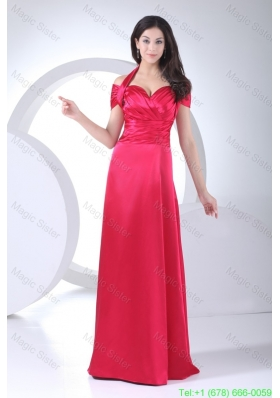Halter Top Ruched Cap Sleeve Mother of the Bride Dress for Women in Red