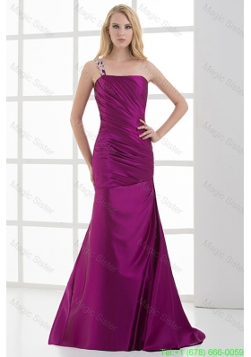 Mermaid Fuchsia One Shoulder Brush Train Beading Taffeta Ruching Mother of the Bride Dress